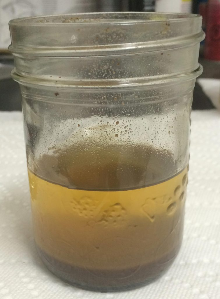 Paraffin sample completely dissolved in solvent.