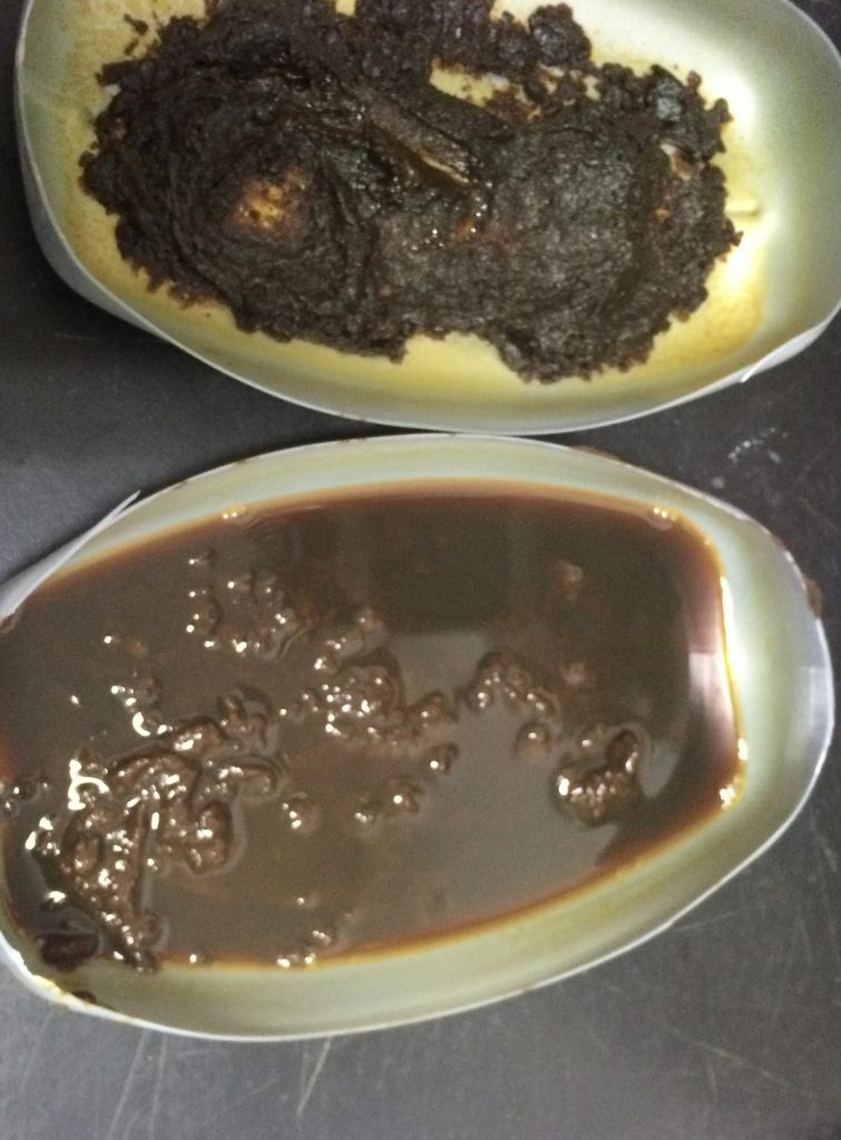 A typical paraffin/wax residue in solvent.